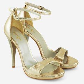 Sandale elegante din piele naturala aurie Shine