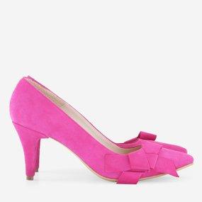 Stiletto cu toc comod din piele naturala roz Josefina