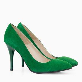 Stiletto din piele intoarsa verde Veruschka