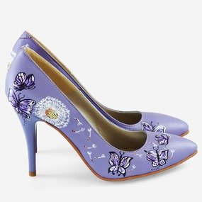 Stiletto lila pictat manual Butterfly
