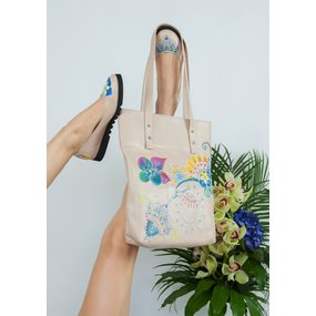 Tote pictat manual Priya - Bloom