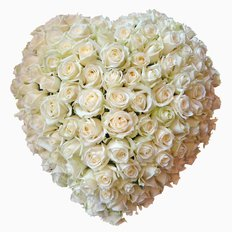 Huge White Roses Shaped Heart | FlorPassion