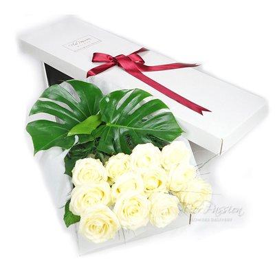 Dozen White Roses Gift Box