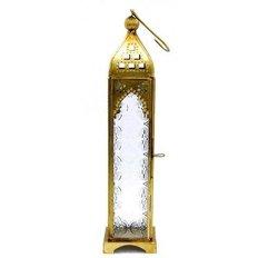 Gold metal/glass lantern, H30CM