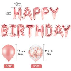 Happy Birthday Rose Gold Balloons