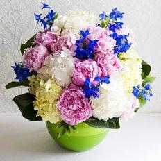 Peonies Hydrangea Delphinium Bouquet | Milan Florist