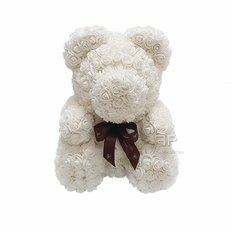 Rose Teddy Bear | Birthday Gift | White Roses Teddy Bear