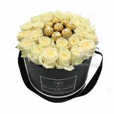 Million Flowers Box with White Roses and Ferrero Rocher Chocolate Same Day Delivery Milan and Rome