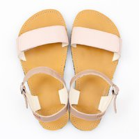 Adjustable strap sandals - Nude & Mustard - in stock