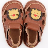Barefoot kids sandals - Classic Brown Lion