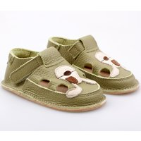Barefoot kids sandals - Green Doggy