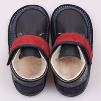 Barefoot wool boots - Red Navy