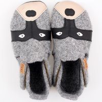 Felted wool shoes- Ziggy Raccoon 19-23EU