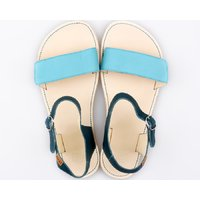 OUTLET - Adjustable strap sandals - Turquoise & Ivory - in stock