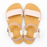 Sandale cu baretă ajustabilă - Nude & Mustard - în stoc